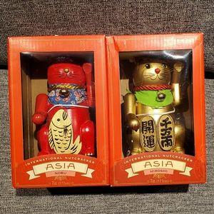 Japanese Wooden Nutcracker Set of 2